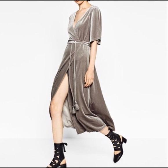 896bdb24cd Zara dove grey velvet wrap dress